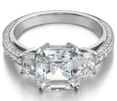 Asscher Diamond Engagement Ring Brilliant Trapezoids side stones trio pave band