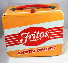 Vintage Lunchbox, Frito Chips Lunch Box, vintage lunchbox, antique lunch box, old lunch box Retro Lunch Boxes, Lunch Box Thermos, Tin Lunch Boxes, Metal Lunch Box, Lunch Bags, Whats For Lunch, Out To Lunch, Vintage Tins, Vintage Avon