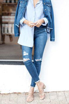 Голубая рубашка, джинсы, blue shirt, cropped jeans, denim