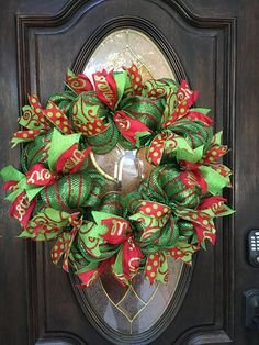Christmas Deco Mesh Wreath Holiday Wreath Decomesh Red and