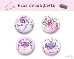 Valentines Day love pugs pins or magnets!