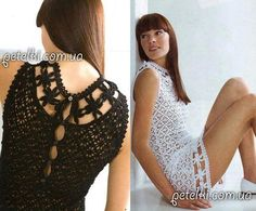 Black and white crochet dress from PHILDAR. Russian Crochet, Crochet Art, Crochet Patterns, Crochet Summer Dresses, Knit Dress, Fabric Crafts, Crochet Projects, To My Daughter, Black And White