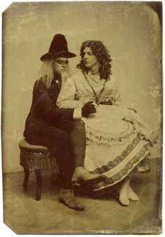 Cross-dressing Couple in theatrical Costumes - Tintype Portrait taken in the second Half of the 19th Century