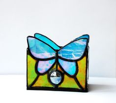 Candle Holder Butterfly Stained Glass