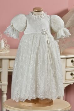 """Catholic christening gown for girls, made from the finest silk, """"Belle"""", Petite Coco. Catholic Christening, Christening Gowns For Girls, Baby Christening, Baby Girl Dresses, Baby Dress, Flower Girl Dresses, Baby Girls, Belle Dress, Lace Silk"""