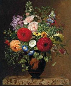 Johan Laurentz Jensen  Convulvulus, Dahlias, Lupins and Stocks in a Greek Vase  1838