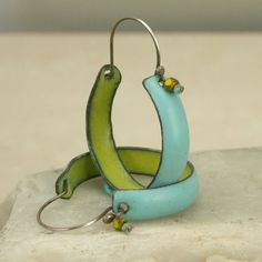 Copper Enamel Boho Hoop Earrings: handmade, chartreuse and turquoise, copper…