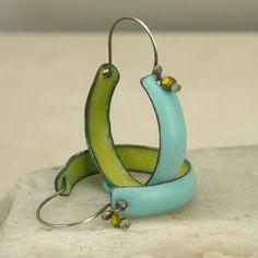 Copper Enamel Boho Hoop Earrings: handmade, chartreuse and turquoise, copper, glass, enamel, vitreous enamel, sterling silver | Artist: Michelle Mahler of Teka and Zoe, Gardnerville, Nevada | tekaandzoe on Etsy