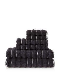 50% OFF Famous International Stitches 6-Piece Towel Set (Black/White)