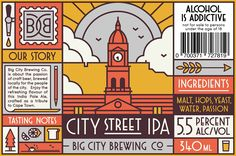 Big City Brewing Company is a South African craft beer producer based in Cape To. - FaunFayanna Big City Brewing Company is a South African craft beer producer based in Cape To. Big City Brewing C Beer Logo Design, Beer Label Design, Craft Beer Labels, Wine Labels, E Design, Graphic Design, Design Package, Craft Bier, City Brew
