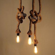 PetrelKing Vintage Rope Pendant Light Lamp Loft Creative Personality Industrial Lamp Edison Bulb American Style For Living Room (1 meter 1 Bulbs)