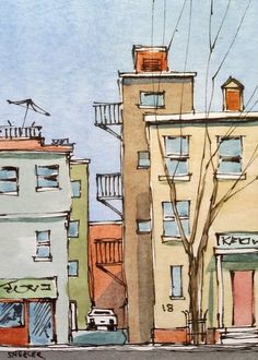 2014-06-16 17.34.33 | by Peter Sheeler Watercolor Drawing, Watercolor Illustration, Watercolor Paintings, Watercolor Architecture, Japon Illustration, Building Art, Art Drawings Sketches, Drawings Of Buildings, Urban Sketching