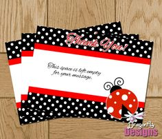 Ladybug Lady Bug Printable Thank You Card for by DragonflyDesignsX, $6.00