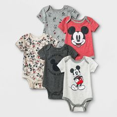 Cool Baby Clothes, Newborn Boy Clothes, Mickey Mouse Outfit, Mouse Illustration, Toddler Boys, Baby Boys, Knit Shorts, Long Sleeve Bodysuit, Simple Dresses