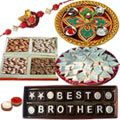 Make this Rakhi celebration as the subject of joy for everlasting for your brother by sending this Homemade Chocolate, Mixed Dry Fruits 250gm, Haldiram Badam Barfi 250gm, Shree Thali, Stone Rakhi and a free Rakhiand Roli Tika and Chawal.