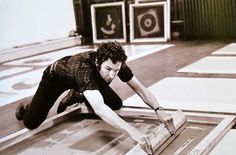 "artistandstudio: "" Robert Rauschenberg at his Lafayette Street, NYC studio, Photo: Henri Cartier-Bresson "" I thought my screen print class would appreciate Rauschenberg's technique of printing. Henri Cartier Bresson, Robert Rauschenberg, Franz Kline, Kiki Smith, Andy Warhol, Gottfried Helnwein, Pop Art Movement, Nyc Studio, Jasper Johns"