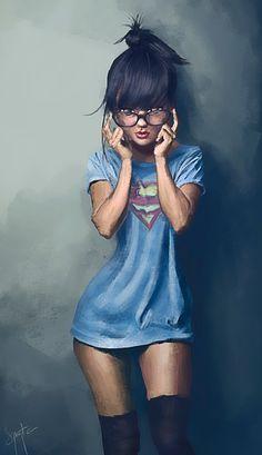 Stylized Girl 04 by Benjamin Olivieri on ArtStation. Girl Cartoon, Cartoon Art, Anime Art Girl, Anime Girls, Harey Quinn, Digital Art Girl, Erotic Art, Supergirl, Female Art