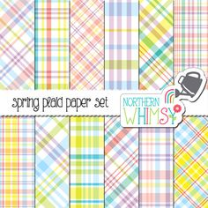 Spring Plaid Digital Paper Pack – plaid scrapbook papers in pastel colors – pastel plaid – Easter colors - instant download – commercial use