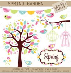 Digital Clipart - Spring Garden (DC-5509) - Instant Download, via Etsy.