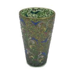 "Vintage Bohemian Czech Moser Art Glass Enamel Decoration Gilt Green Tumbler 4"" #Moser #Victorian"