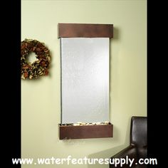 Whispering Creek Wall Fountain with Silver Mirror in Copper Vein Tabletop Water Fountain, Diy Fountain, Indoor Water Fountains, Indoor Fountain, Wall Fountains, Decorative Fountains, Bronze Mirror, Outdoor Walls, Candle Sconces