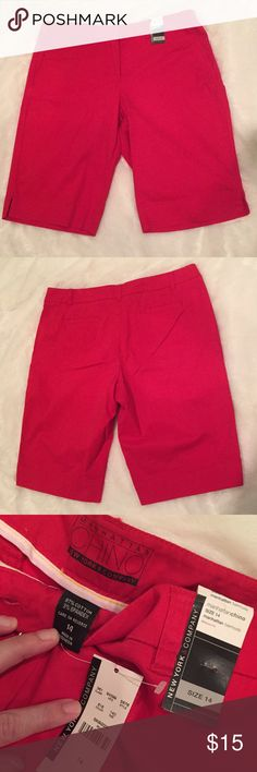 New York & Co. Bermuda Shorts NWT! Summer will be here before you know it!  Now's the time to start stocking up on wardrobe essentials! Like these red chino Bermuda shorts with Button, hook and eye and zipper closure, plus pockets. I also have these same shorts in aqua, if you're interested. Size 14. New York & Company Shorts Bermudas