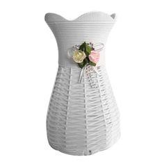 White Artificial Rattan Vase Flower Fruit