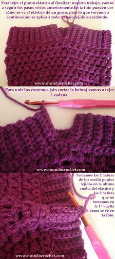 Como tejer el punto elastico en medio punto a crochet o ganchillo paso a  paso. Magui · Gorros y sombreros en crochet 7f795d1c715