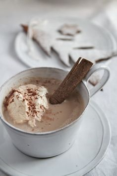 Hot chocolate with ice cream and a cinnamon stick stirrer