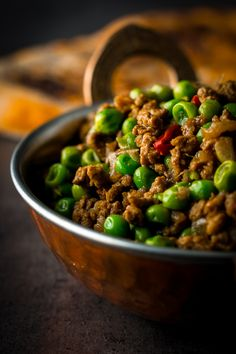 This keema matar recipe is a really rather exciting for me, one of my very favourite dishes and one I rarely get an opportunity to cook! I have waxed lyrical about peas pretty much from day one and my love of curry is hardly subtle here