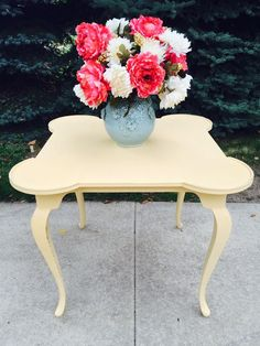 Vintage Shabby Chic Cottage Yellow Apartment Table, Hall Table, or Game Table #Cottage