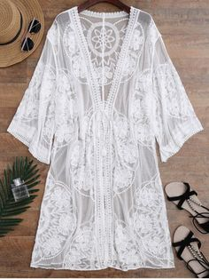 AD : Sheer Lace Tie Front Kimono Cover Up - BLACK ONE SIZE A tie front embroidered beach coverup featuring wide sleeves and a midi length. Cover-Up Type: Kimono Gender: For Women Material: Nylon,Polyester Pattern Type: Floral Weight: Package: 1 x Cover Up Swimwear Cover Ups, Swimsuit Cover Ups, Bikini Swimsuit, Halter Bikini, Bikini Set, Strand Kimono, Mode Kimono, Mini Robes, Robes Midi