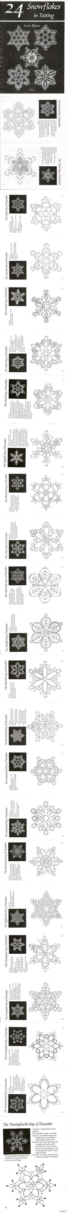 24 Snowflakes in Tatting. I know I pinned this recently, however this is a much…