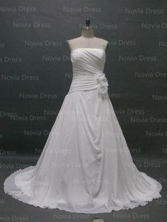 A-line Strapless Neck Pleated Flowers Wedding Dress, Plus Size Chiffon Bridal Gown,White Wedding Gown on Etsy, $169.99