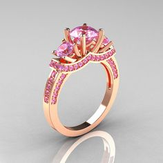 French 14K Rose Gold Three Stone Light Pink Sapphire by artmasters, $1149.00