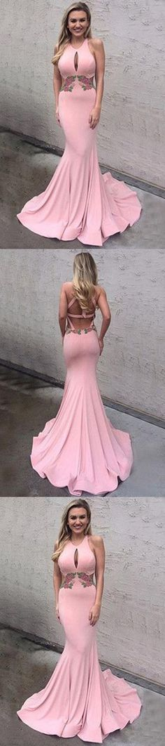 Pink Memaid Open Back Prom Dresses, Cheap Backless Prom Dresses M1971#prom #promdress #promdresses #longpromdress #2018newfashion #newstyle #promgown #promgowns #formaldress #eveningdress #eveninggown #2019newpromdress #partydress #meetbeauty #mermaid #pink #satin #openback #backless