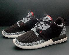 Nike Roshe Run Air Jordan III Black/Cement Inspired Customs