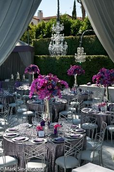 tall purple and silver centerpieces