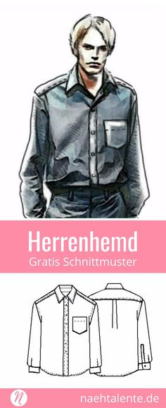 Kostenloses Schnittmuster für ein Herrenhemd in Gr. 44 - 56. PDF zum Ausdrucken. Freebook ✂️ Nähtalente - Das Magazin für Hobbyschneider/innen ✂️ Free sewing pattern for men's classic shirt in size 44 - 56. PDF pattern for print at home ✂️ Nähtalente - Magazin for sewing and free sewing pattern ✂️ #nähen #freebook #schnittmuster #gratis #nähenmachtglücklich #freesewingpattern #handmade #diy via @Naehtalente