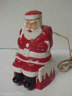 Vintage Christmas Collectible ~ Old Paramount Santa in Chimney Christmas Light