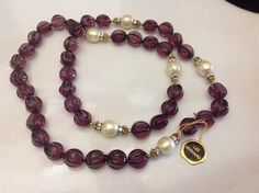 Les Bernard Single Strand of Carved Melon Amethyst Glass Beads & 10mm Faux Pearls Necklace, Book Piece by SweetBettysBling on Etsy