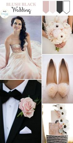 Good color scheme, + matte gold and perhaps another shade of pink  Blush Black Wedding Inspiration - KnotsVilla