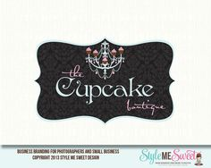 The Cupcake Boutique Premade Logo Design Business Logo, Business Card Design, Cupcake Boutique, Cupcake Logo, Bakery Logo Design, Timeline Design, Logo Style, Pastry Shop, Text Design
