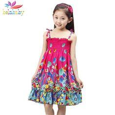 Belababy Summer Bohemian Beach Girls Dress With Beading Necklace Sundress Floral Sling Dress For Girl Vestido Infantil