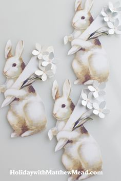 Paper bunny tags for gifts and favors. I also think they'd be great on the table among flowers, eggs & fern fronds or on each plate Paper Bunny, Bunny Art, Paper Paper, Paper Craft, Quilling, Easter Parade, Egg Decorating, Vintage Easter, Craft Ideas