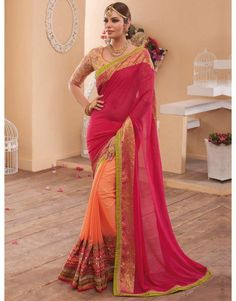 Pink and Peach Georgette Saree with Stone Work