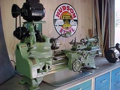 1938 Sheldon Lathe.  Freshly restored in 1992.  Original owner modified the drive pulley system.