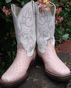 PINK and white Durango  cowboy boots women's by OutOfMyMamasAttic, $69.99
