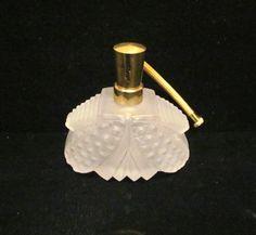 IRICE Perfume Bottle White Frosted Bottle Vintage Art Deco Bottle Satin Glass Bottle