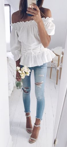 #fall #outfits  women's white off-shoulder tops and distressed blue denim jeans